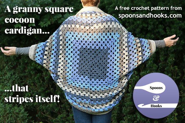 It's possible to crochet a granny square cocoon cardigan using self-striping yarn and get attractive concentric squares WITHOUT slicing and dicing your yarn. Here's how!