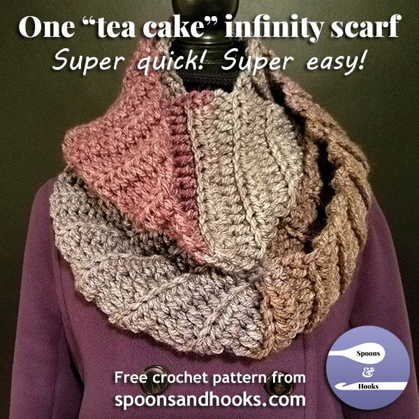 "Free crochet pattern: One ""tea cake"" infinity scarf"