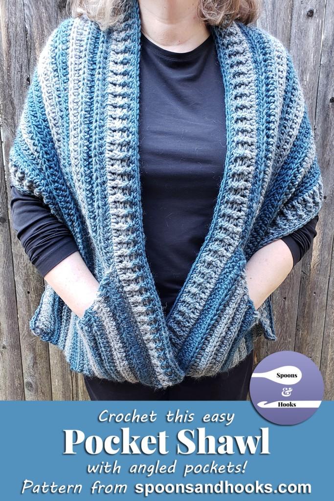 Crochet this easy pocket shawl with angled pockets!